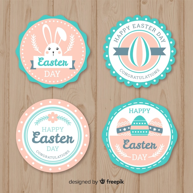 Pastel color flat easter badge collection Free Vector