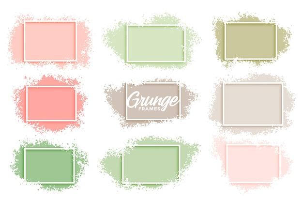 Пастельные цвета гранж абстрактные рамки набор из девяти Бесплатные векторы