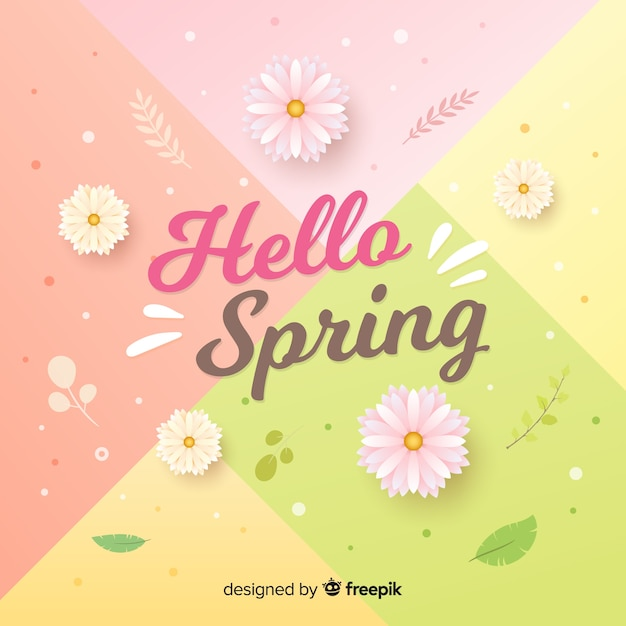 Pastel color hello spring background Free Vector