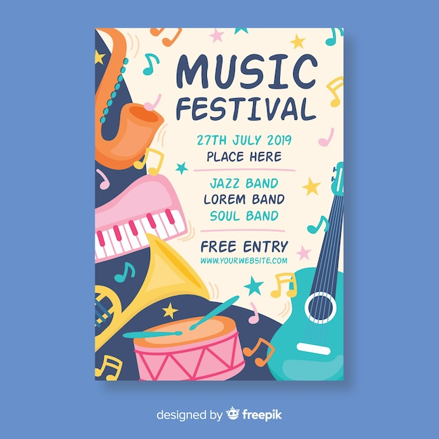 Pastel color instruments music festival poster Free Vector