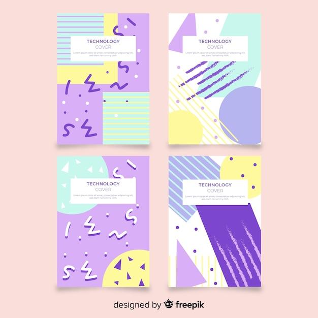 Pastel color memphis style brochure set Free Vector