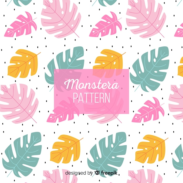 Pastel color monstera leaves background Free Vector