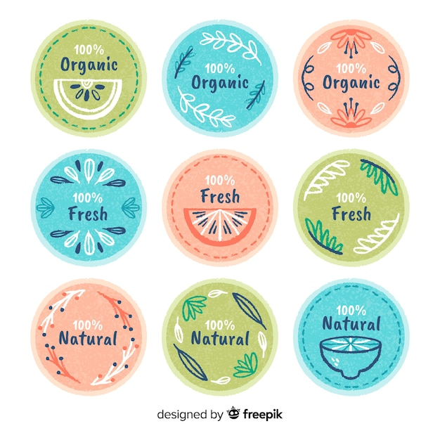 Pastel color organic food label collection Free Vector