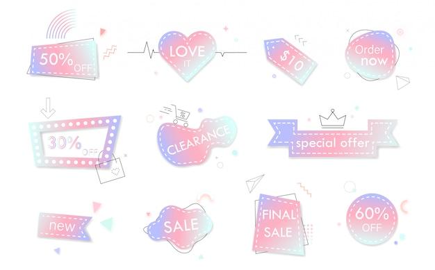 Pastel color sale banners Premium Vector