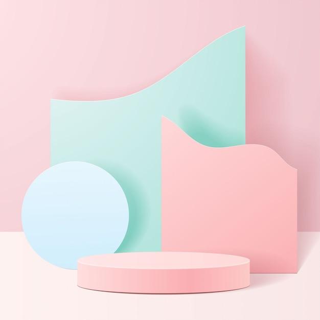 자연에 파스텔 색상 모양. 기하학적 형태의 최소 장면. 분홍색 배경에서 실린더 연단입니다. 화장품, 프리젠 테이션, 쇼케이스, 상점, 진열장을 보여주는 장면. 프리미엄 벡터