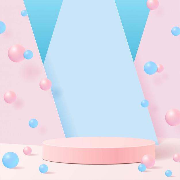 자연에 파스텔 색상 모양. 기하학적 형태의 최소 장면. 공 파란색 배경에 핑크 실린더 연단입니다. 화장품, 쇼케이스, 상점, 진열장을 보여주는 장면. 프리미엄 벡터