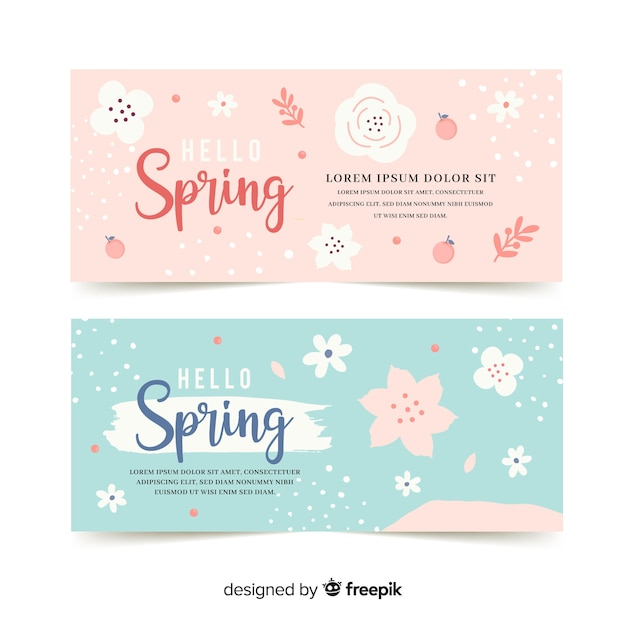 Pastel color spring banner template Free Vector