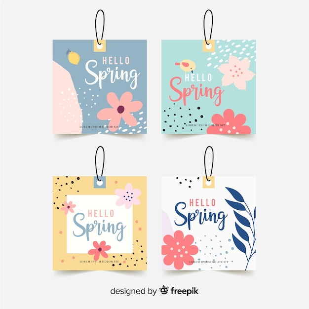 Pastel color spring label collection Free Vector