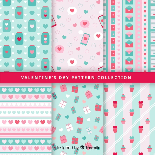 Pastel color valentine pattern collection Free Vector