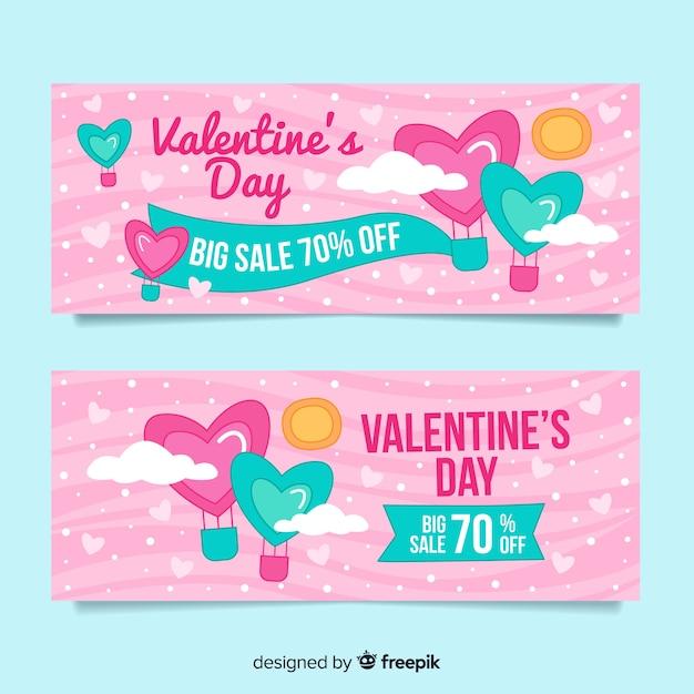 Pastel color valentine sale banner set Free Vector