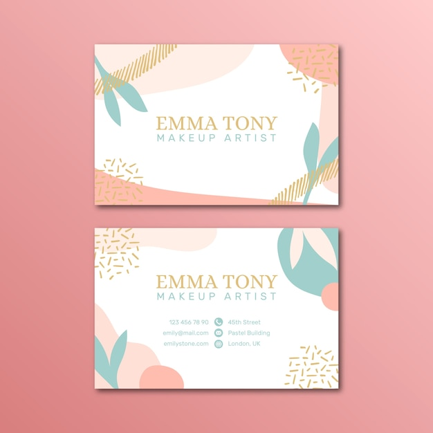 Pastel-colored business card template Free Vector