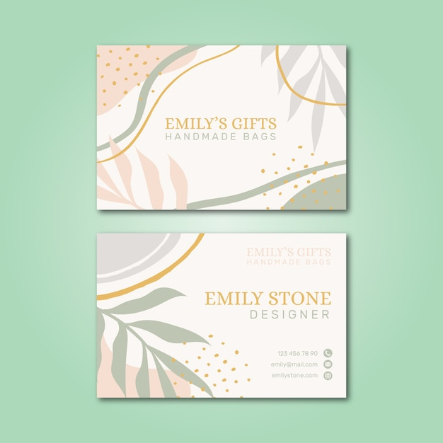 Pastel-colored business card Free Vector