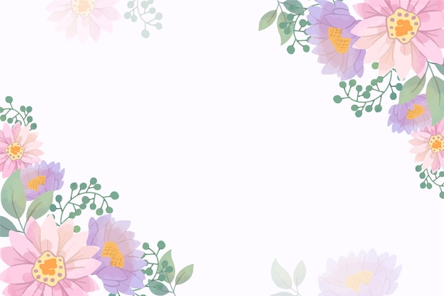Pastel colored floral wallpaper with copy space Free Vector
