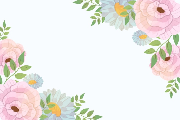 Pastel colored floral wallpaper Free Vector