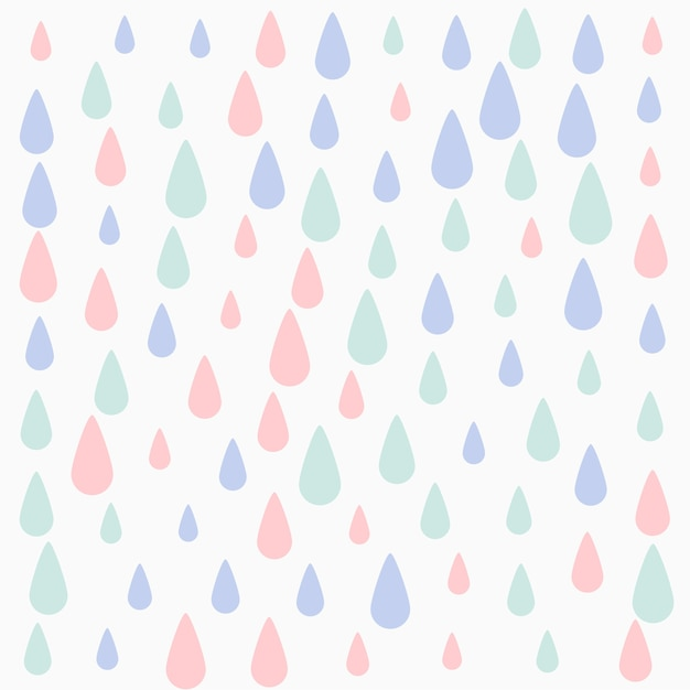 파스텔 색상 떨어지는 방울 패턴 배경 디자인 무료 벡터