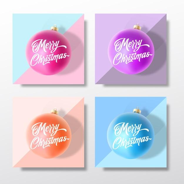 Пастельные цвета нежные рождественские поздравительные открытки, плакаты, баннеры или набор шаблонов приглашения на вечеринку. Бесплатные векторы
