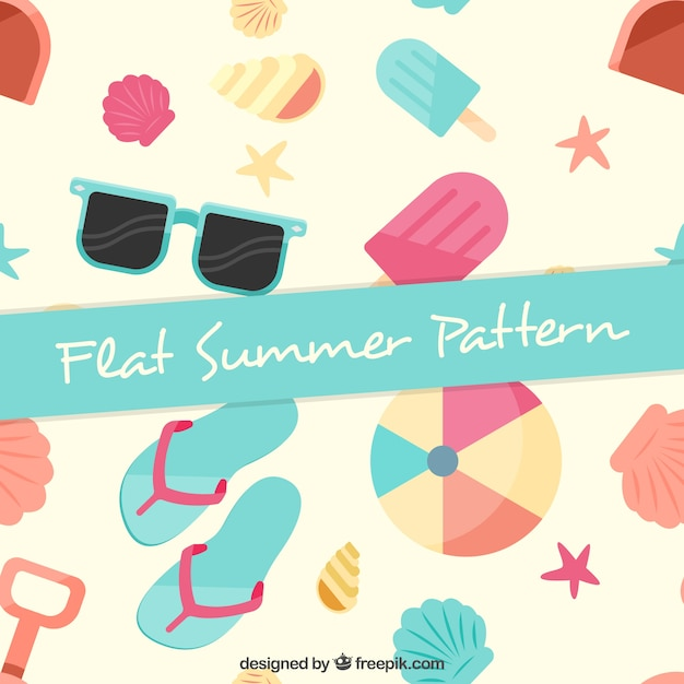 pastel colors summer elements in flat design pattern vector free