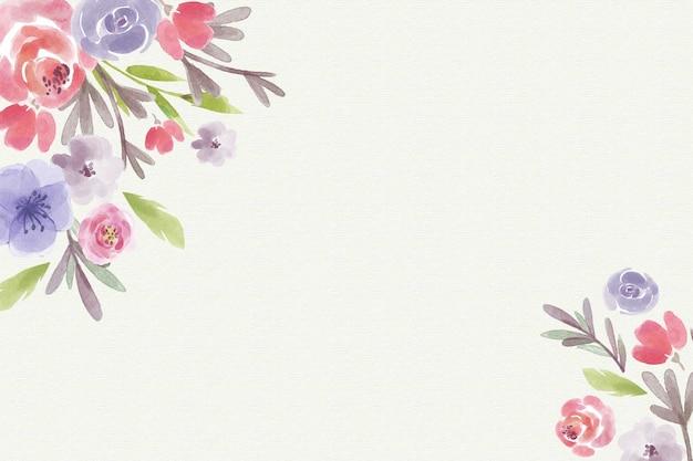 パステルカラーの水彩画の花の背景 Premiumベクター