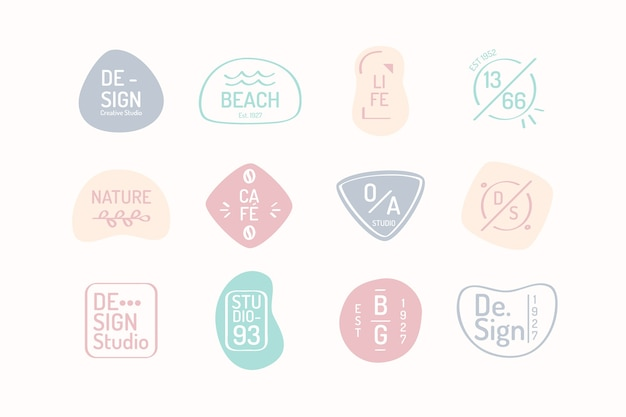 Pastel colour tones business logo template Free Vector