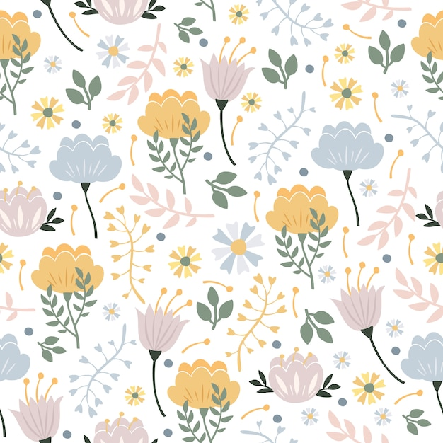 Pastel floral pattern Free Vector