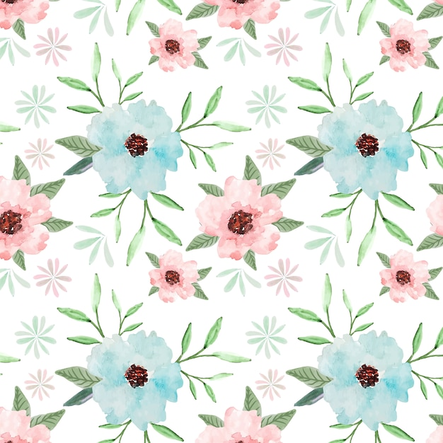 Pastel floral seamless pattern watercolor background Premium Vector