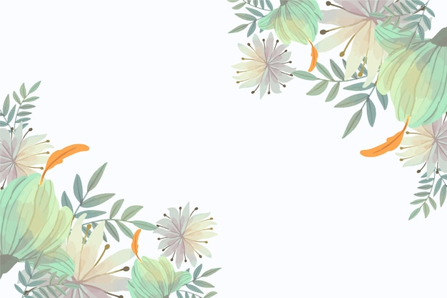 Pastel floral wallpaper with copy space Free Vector