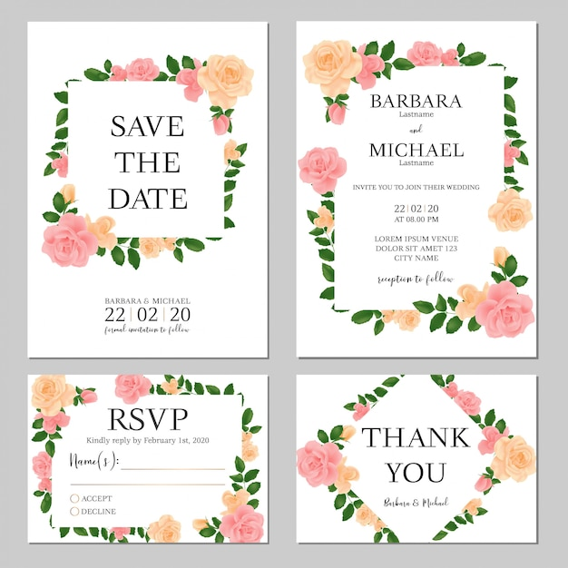 Pastel floral wedding invitation template Premium Vector