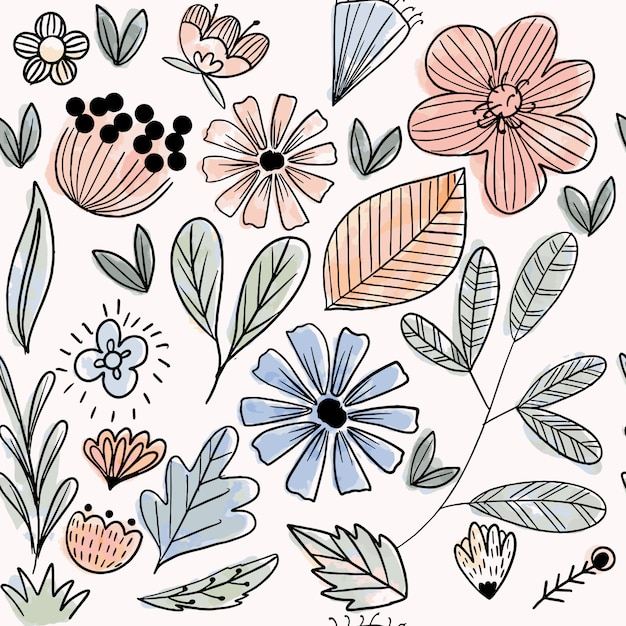 Pastel flower and leaves seamless pattern Premium Vector