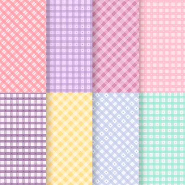 Pastel gingham pattern collection Premium Vector