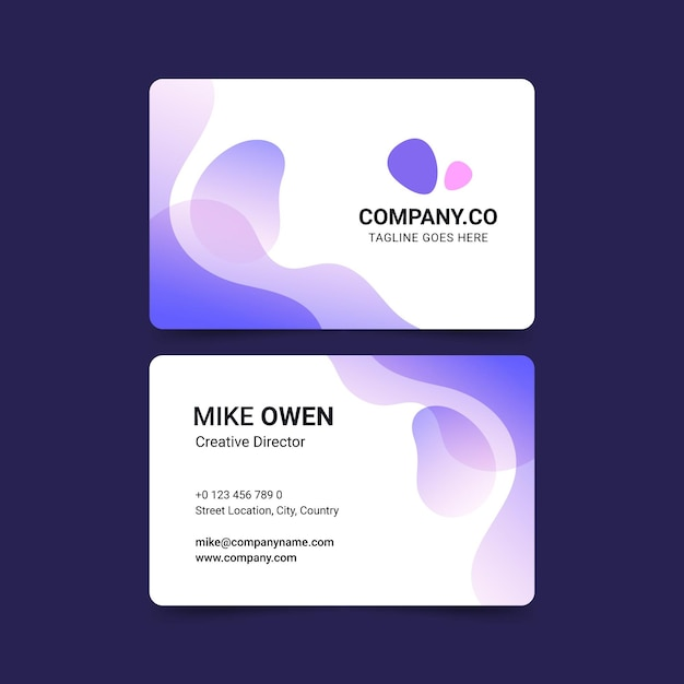 Pastel gradient business card template Free Vector