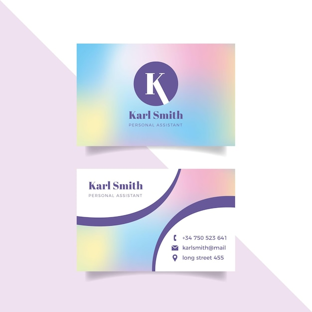 Pastel gradient business card template Premium Vector