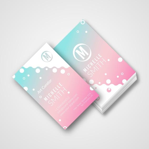 Пастельная градиентная визитка Бесплатные векторы