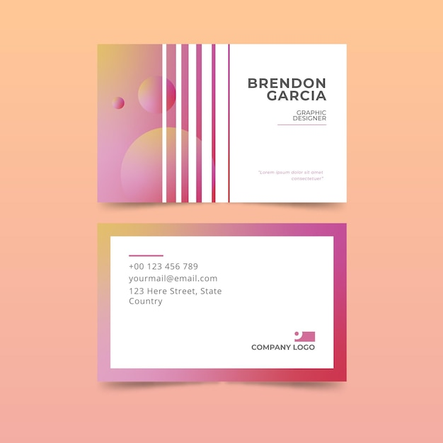 Pastel gradient business cards collection Free Vector