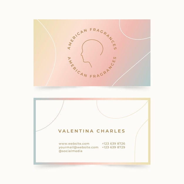 Pastel gradient business cards Premium Vector