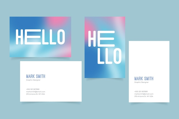 Pastel gradient business cards Free Vector