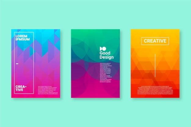 Pastel gradient colours abstract geometric cover collection Free Vector