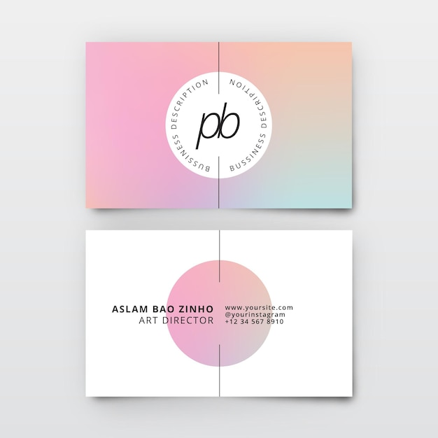 Pastel gradient template for business cards Free Vector