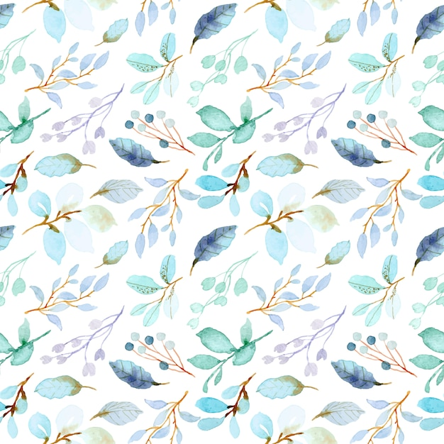 Pastel green leaves watercolor seamless pattern Premium Vector