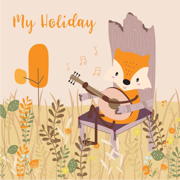 Pastel greeting card with fox Premium Vector