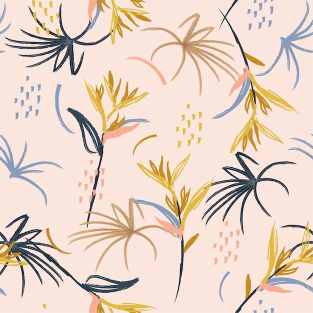 Pastel hand brush seamless pattern Premium Vector