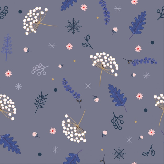 Pastel hand drawn floral winter seamless pattern with christmas leaves and berries. Premium Vector
