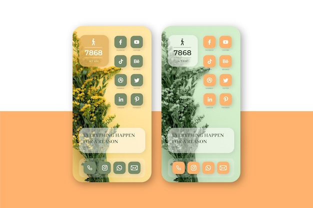 Pastel home screen template for smartphone Free Vector