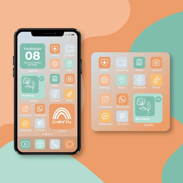 Pastel home screen theme for smartphone Premium Vector