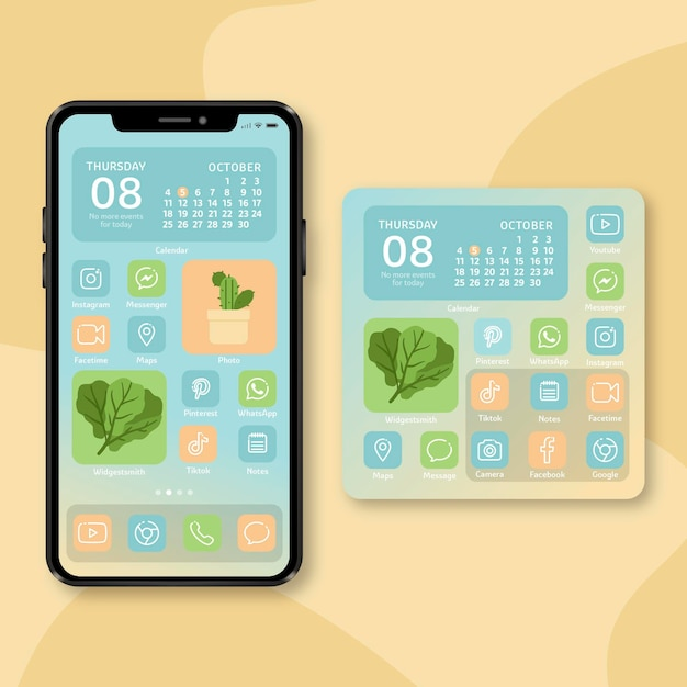 Pastel home screen theme for smartphone Premium Vector