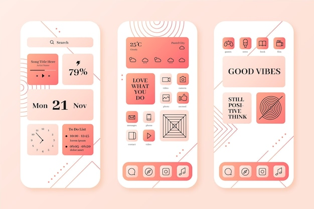 Pastel home screen Free Vector