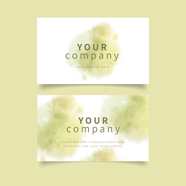 Pastel khaki colours and brush strokes business card Free Vector