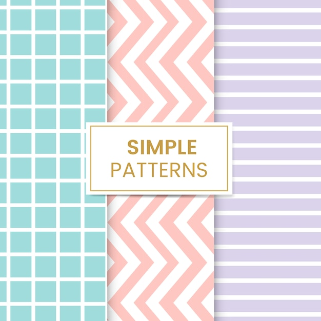 Pastel mixed seamless pattern set Free Vector