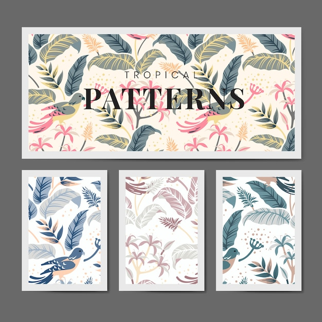 Pastel nature seamless patterned backgrounds set vector Free Vector
