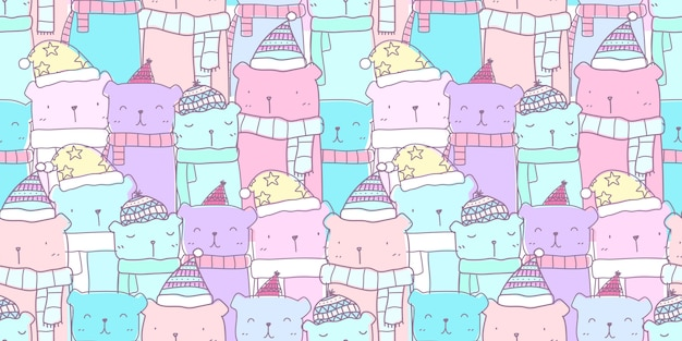 Pastel pattern seamless with hand drawn cute bear family Premium Vector