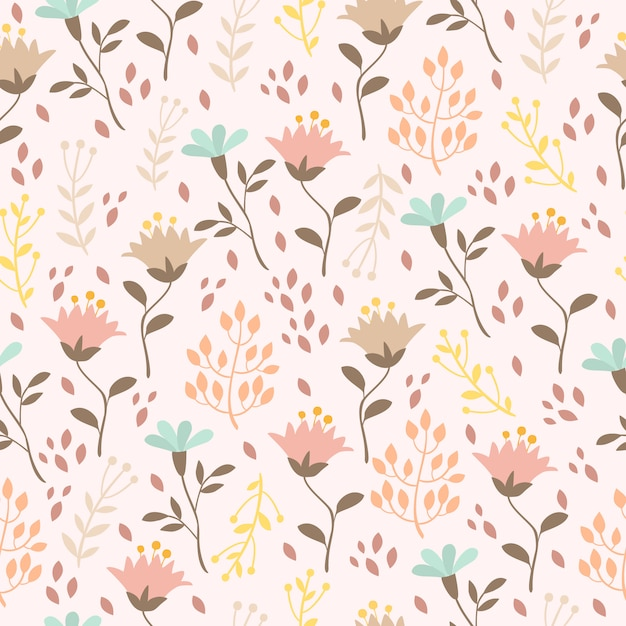 Pastel pattern with plants and flowers Free Vector